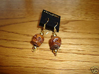 Skull head wooden hand carved earrings  NEW Goth wood unique