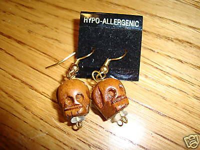 Skull head wooden hand carved earrings carvings gift NEW Goth
