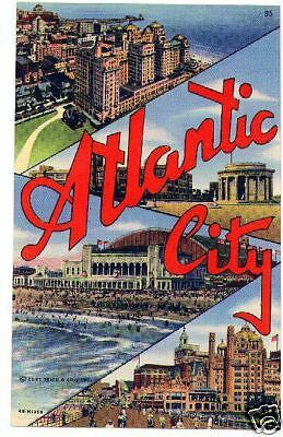 Atlantic City, NJ linen post card unused 1940's