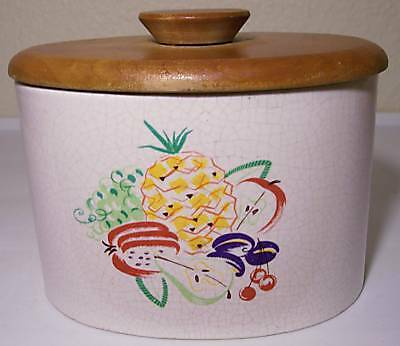 BARBARA WILLIS POTTERY FRUIT DECORATED CANISTER W/LID!
