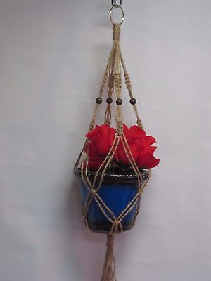 Macrame Plant Hanger BEADED 24 inch all NATURAL JUTE