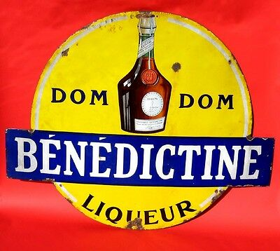 Benedictine Liqueur 1930's HUGE French porcelain sign