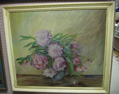 signed oil on board  E. DICKINSON nice floral painting. framed mums stylized art
