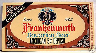 Frankenmuth Geyer's Beer Bottle Label Frankenmuth Mich