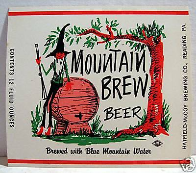 Mountain Brew Beer Bottle Label Reading Pa