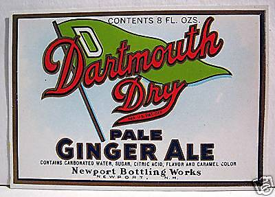 Vintage Dartmouth Dry Ginger Ale Soda Label Newport