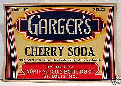 Vintage Gargers Cherry Soda Label North St Louis Mo