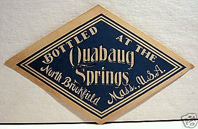 Vintage Quabaug Water Label North Brookfield Mass