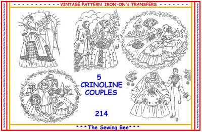 214 Crinoline Lady couples Embroidery Transfer Patterns