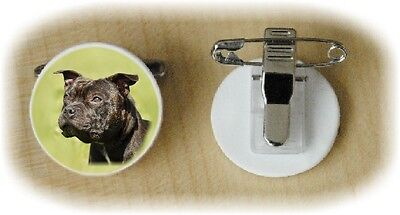 Staffordshire Bull Terrier Dog Fine Bone China Ring Clip No 2 by Starprint