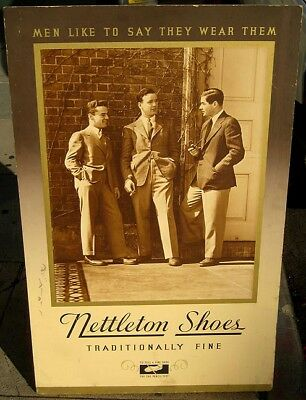 Nettleson's Shoes 1940's heavy sign poster HUGE