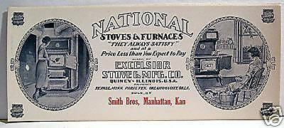 Old National Stove & Furnace Vintage Quincy Ink Blotter