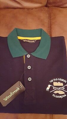 Navy Herringbone  Polo Shirt Old Course St Andrews Size Small