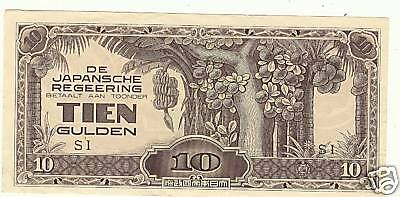 Japanese Invasion Money Netherlands TIEN GULDEN Note SI