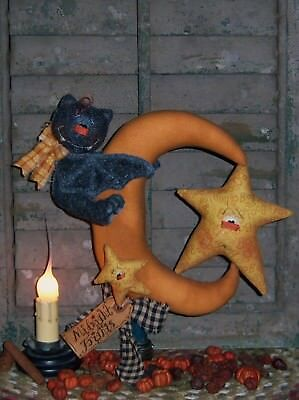Primitive Halloween Moon Bat Star Ornies Paper Pattern #329