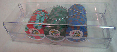 5 100 Count POKER CHIPS Trays Racks w/ COVERS LIDS  *