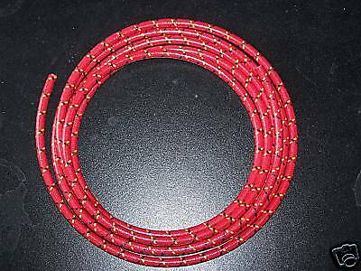 7mm Cloth Sparkplug wire Red w/ Yellow and black 5 feet