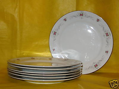 FINE CHINA OF JAPAN - ROSE DALE - QTY 7 DINNER PLATES