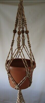 Macrame Plant Hanger BEADED 24 in ** CRANBERRY Cord**