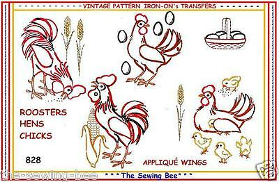 828 Rooster embroidery transrer PATTERN IRON-ON