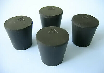 Size 3 Black Rubber Stoppers  (Count 4)