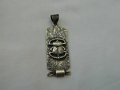 Egyptian Sterling Silver Cartouche Scarab Hieroglyphics Oxidized