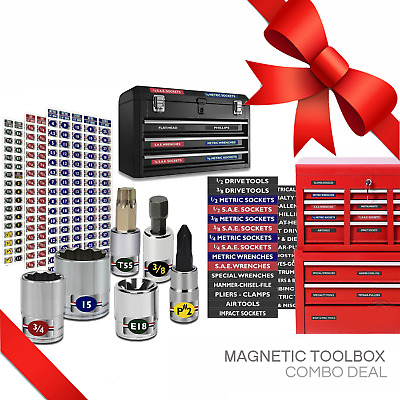 Combo Deal - Magnetic Toolbox - Socket Tags - Torx- Metric- SAE- Organizer Kit