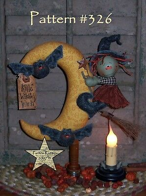 Primitive Halloween Witch Moon Bat Ornies Paper Pattern #326