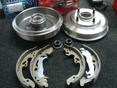 2 Rear Brake Drum With Bearings Fitted Brake Shoes For Ford Focus Mk1 1998-04