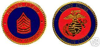 USMC MARINE CORPS GUNNERY SERGEANT COLOR CHALLENGE COIN