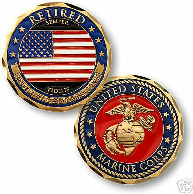 USMC  MARINE CORPS  RETIRED COLOR FLAG CHALLENGE COIN