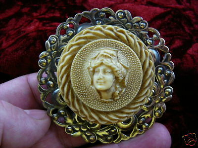 (CL39-2) FULL FACED GREEK WOMAN CAMEO Pin Pendant Jewelry brooch