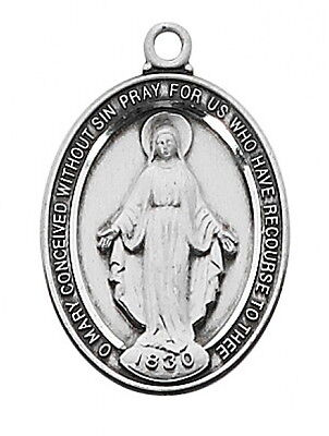 Miraculous Medal Virgin Mary Sterling Silver Medallion Pendant 18 inch Chain Box