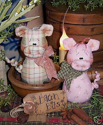 """Primitive Raggedy 14/"""" Clara Cow /& Pearl Pig MAILED PAPER PATTERN #178"""