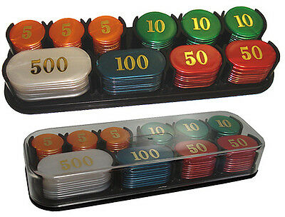 100 Colorful Acrylic JETONS In Covered Case Multi Color / Multi Denominations *
