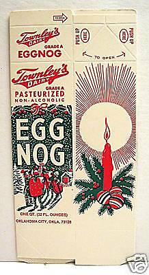 Townley Dairy Christmas Egg Nog Carton Oklahoma City Ok