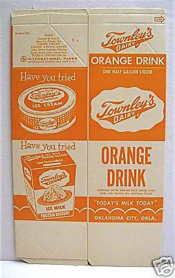 Townley Dairy Orange Drink Carton Oklahoma City Ok