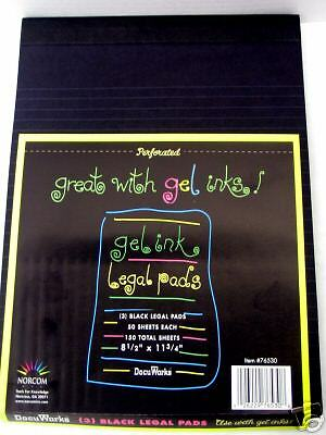 Full Case of - 9 -  Gel Ink Legal Pads. Black.