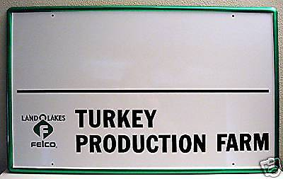 Land O Lakes Felco Feed Old Unused Turkey Farm Tin Sign