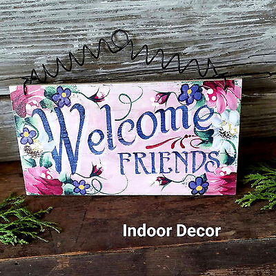 """DECO COTTAGE SIGN Welcome Friends Pink SHABBY Roses CHIC NEW 4""""X7"""" EXCLUSIVE New"""