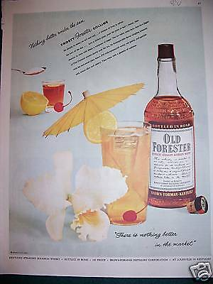 1954 Old Forester Bourbon Whiskey Frosty Collins Ad