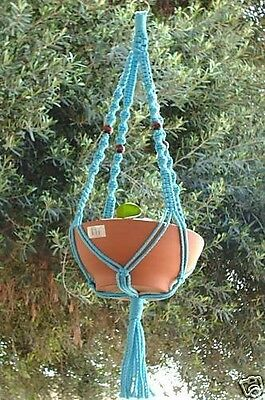 Macrame Plant Hanger 44in Deluxe with Beads - SKY BLUE Cord