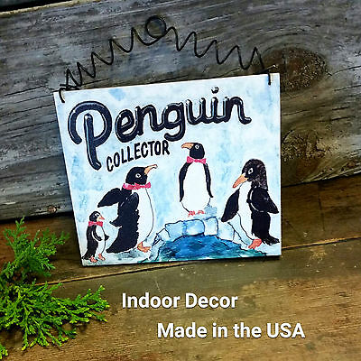 "DecoWords Indoor Decor *PENGUIN Collector Wood Sign Made in USA New 5""x6"" Wired"