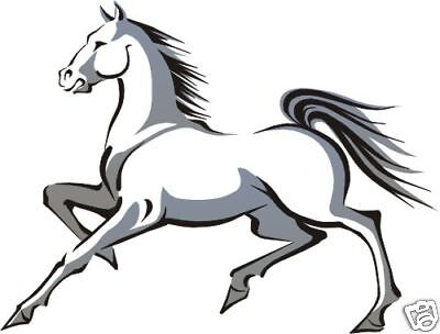 Decals Stickers 2 X Grey & White Horses Vehicle Wall Horsebox Campervan 25X19Cm