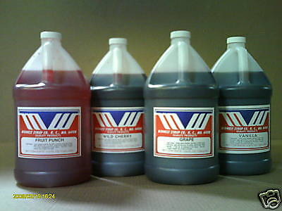 Soda Fountain Syrup - 4  one gallons plastic bottles