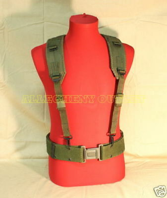US Military Load Bearing Suspenders Y Strap w Army QR L Pistol Waist Belt VGC