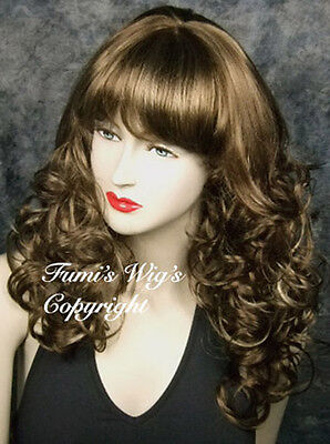 Long Curly Wig In Brown With Golden Blonde Highlights /Great Fibre Great Quality