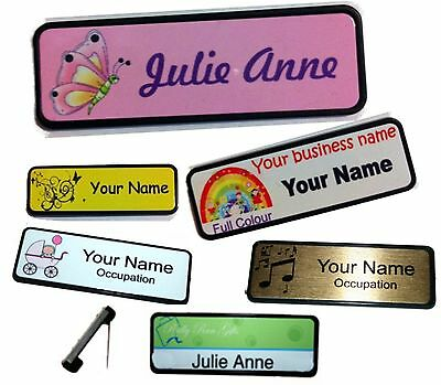 Personalised NAME BADGE 7.6x2.5cm custom tag WORK BADGES your name logo PIN BACK