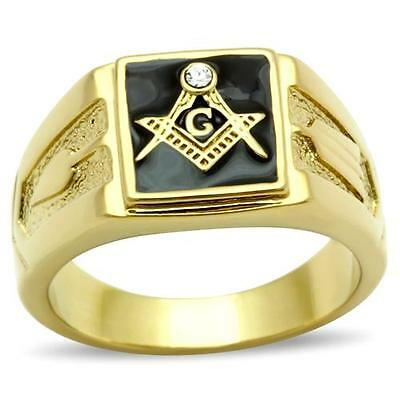 18K GOLD EP MASONIC MASON  MENS RING sz 10 T 1/2 black freemason
