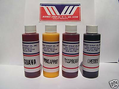 Shave Ice / Snow Cone Flavoring Concentrate- 4 bottles - vending